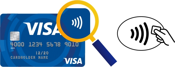 Visa_Karte_NFC_kontaklos_Symbol_Terminal