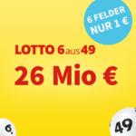 *26 Mio € Jackpot* 6 Felder Lotto 6aus49 für 1€ (statt 6€) - Lottohelden-Neukunden (Bestandskunden: 20x für 16€ statt 20€)