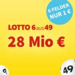 *28 Mio € Jackpot mit Zwangsausschüttung* 6 Felder Lotto 6aus49 für 1€ (statt 6€) - Lottohelden-Neukunden (Bestandskunden: 20x für 16€ statt 20€)