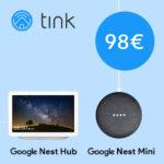 Google Bundles bei tink reduziert + exkl. 10€ Gutschein, z.B. Google Nest Hub + Google Nest Mini für 88€ (statt 129€)