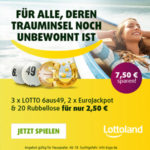 3 Felder Lotto 6aus49 + 2 Felder EuroJackpot + 20 Rubbellose für 2,50€ (statt 10€) - Lottoland-Neukunden