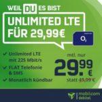 💥 Mtl. kündbare Unlimited LTE (225 Mbit/s) Allnet-Flat für 29,99€/Monat - md o2 Free Unlimited Max