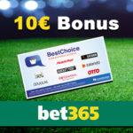 *Nur 150x!* Bet365: Für 5€ wetten + 10€ BestChoice Premium-Gutschein kassieren (Neukunden)