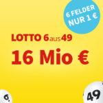 *16 Mio € Jackpot* 6 Felder Lotto 6aus49 für 1€ (statt 6€) - Lottohelden-Neukunden (Bestandskunden: 20x für 16€ statt 20€)