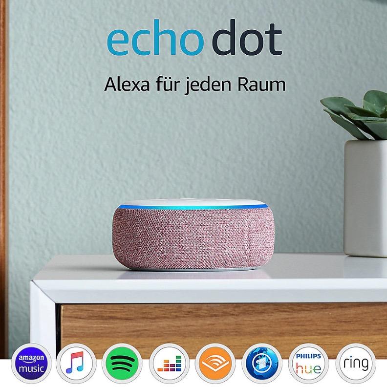 Echo Dot (3. Gen.), Lila Stoff + Philips Hue White LED Lampe