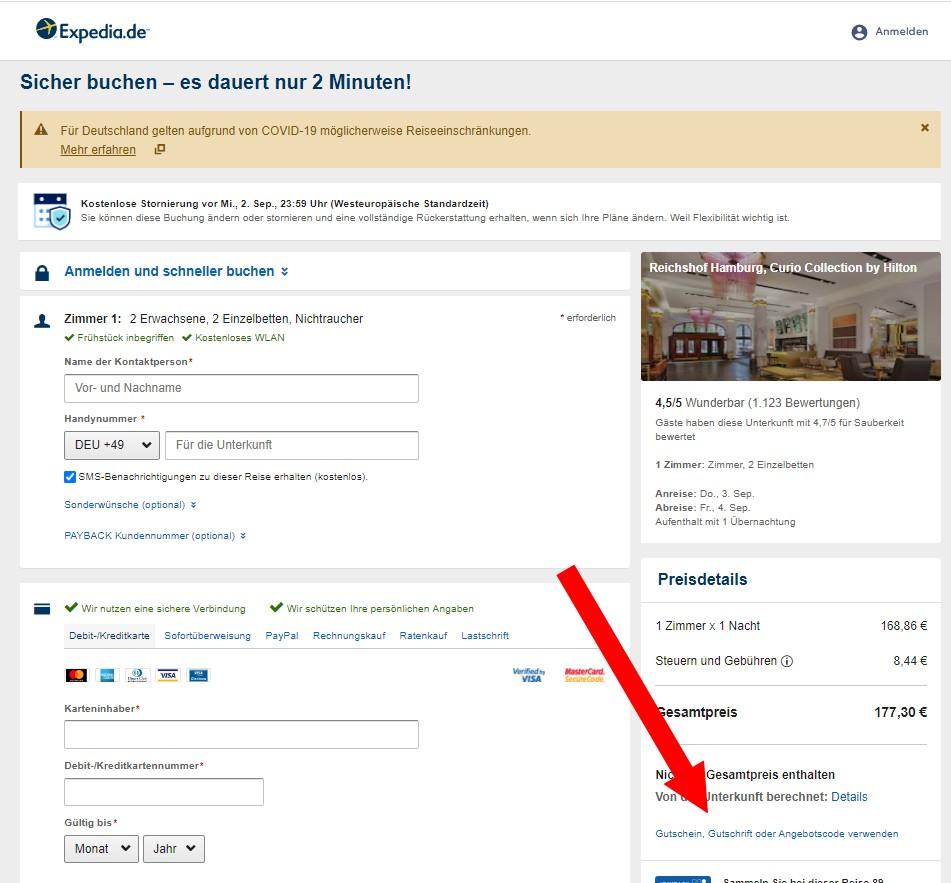 Gutschein bei Expedia einlösen
