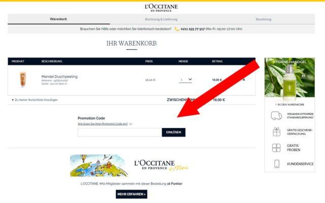 Gutscheincode bei L'Occitane einfügen