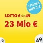 *23 Mio € Jackpot* 6 Felder Lotto 6aus49 für 1€ (statt 6€) - Lottohelden-Neukunden + 20% Rabatt für Bestandskunden