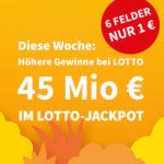*45 Mio € Spezial-Jackpot* 6x Lotto 6aus49 für 1€ (statt 6€) - Lottohelden-Neukunden + 20% Rabatt für Bestandskunden