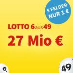 *27 Mio € Jackpot* 5x Lotto 6aus49 für 1€ (statt 6€) - Lottohelden-Neukunden
