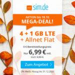📲 Flexible 8GB LTE Allnet-Flat für 9,99€/Monat - nur bis 20.10. (sim.de im o2-Netz, Drillisch)