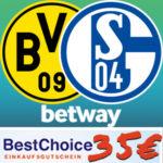 *Noch mehr Gewinn!* 🟡⚽️🔵 BVB - Schalke 04 bei Betway: 25€ einsetzen + 35€ BestChoice-Gutschein kassieren! (Neukunden)