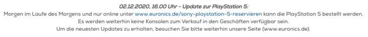 02.12.2020 16.00 Uhr   Update zur PlayStation 5