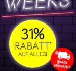 Vorteilshop: Black Week Deal 31% Rabatt aus alles + gratis Versand