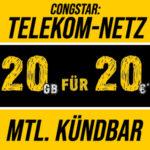 📲 Cyber Deal 2020: Mtl. kündbare 20GB LTE Allnet im Telekom-Netz für 17€/Monat (congstar Allnet Flat M)
