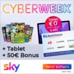 Sky Q Cyberweek: Samsung Galaxy Tab A7 gratis + nur 12 Monate MVLZ + 0,00€ Aktivierungsgebühr + 50€ Bonus