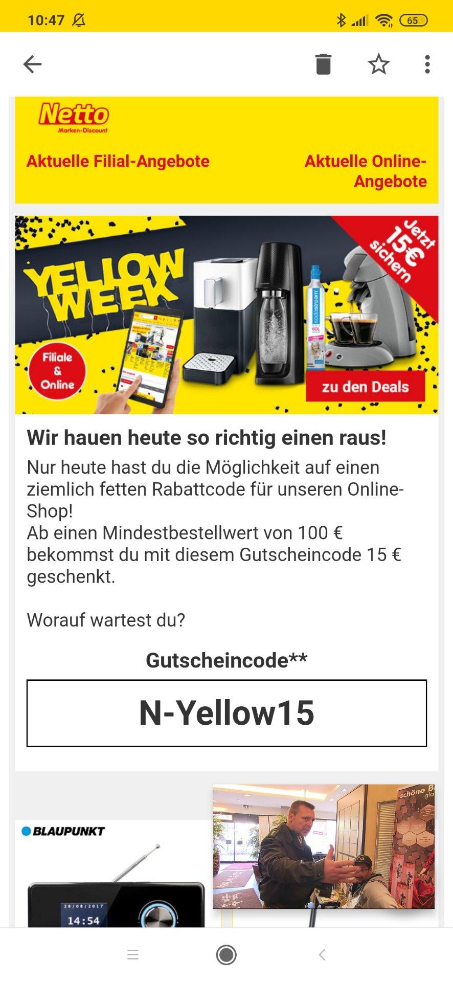 Netto: 15€ Gutschein ab 100€ Bestellwert