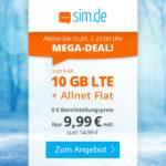 📲 Flexible 10GB LTE Allnet-Flat für 9,99€ ⏰ nur bis Montag (25.01.), 22 Uhr - sim.de im o2-Netz