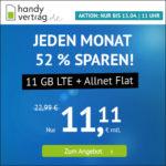 📲 Mtl. kündbar: 11GB LTE Allnet-Flat für 11,11€ (nur bis 13.04., 11 Uhr) - handyvertrag.de im o2-Netz
