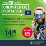 😏 Unlimited LTE (10 Mbit/s) Allnet für 14,99€/Monat + 0,00€ Anschlusspreis ℹ️ auch mtl. kündbar jetzt (md o2 Free Unlimited)