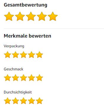 5 Sterne Bewertung bei Amazon