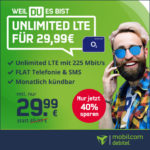 *Nur bis Di, 20 Uhr* Mtl. kündbar: Unlimited LTE (225 Mbit/s) Allnet für 29,99€/Monat + 9,99€ Anschlusspreis + 2 Monate Gymondo gratis (md o2 Free Unlimited Max)