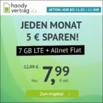⭐️ Mtl. kündbar: 7GB LTE Allnet für mtl. 7,99€ (nur bis 11.05., 11 Uhr) - handyvertrag.de im o2-Netz