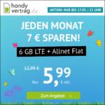 ⭐️ Mtl. kündbar: 6GB / 12GB LTE Allnet für mtl. 5,99€ / 11,99€ (nur bis 17.05. / 18.05.) - handyvertrag.de im o2-Netz