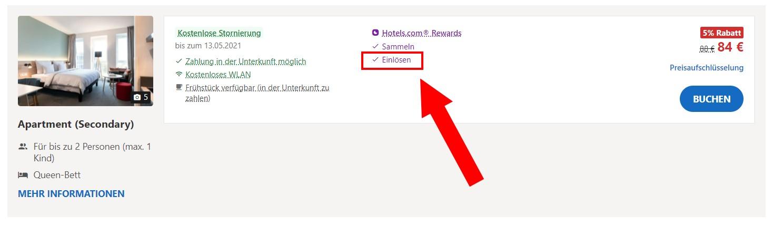 Hotels.com Rabattcode einlösen möglich