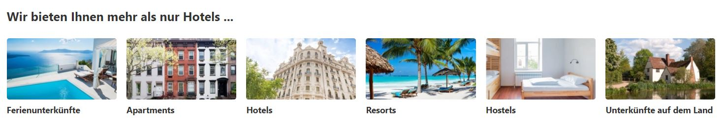 Hotels.com Unterkunftsarten