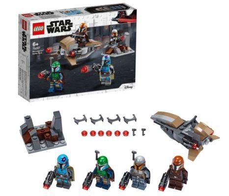 LEGO 75267 Star Wars Mandalorianer Battle Pack Set mit 4 Minifiguren Speeder Bike und Verteidigungsfestung