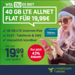 *Nur noch bis 18 Uhr!* 💥 Mtl. kündbare 40GB LTE o2 Allnet für nur 19,99€/Monat (mit 225 Mbit/s - md o2 green LTE)