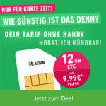 *Bestpreis!* 💥 Mtl. kündbare 12GB LTE o2 Allnet für 9,99€/Monat (md o2 green LTE)