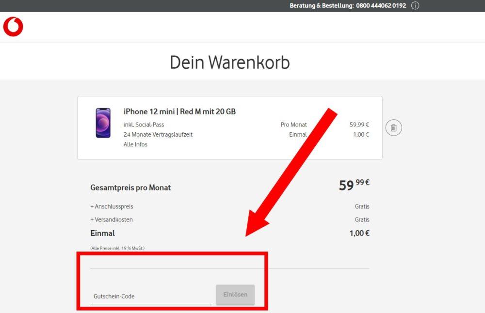 Vodafone Warenkorb: Gutschein einlösen