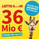 Exklusive Verlängerung 😲 36 Mio. Jackpot: 5 Felder Lotto 6aus49 für 1€ (statt 6€) - Lottohelden-Neukunden