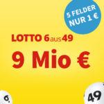 9 Mio. Jackpot: 5 Felder Lotto 6aus49 für 1€ (statt 6€) - Lottohelden-Neukunden