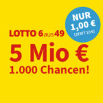 5 Mio. Jackpot: 5 Felder Lotto 6aus49 für 1€ (statt 6€) - Lottohelden-Neukunden