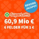 🥳 SuperLotto mit 60,39 Mio € - 6 Felder für 1€ (statt 6€) - Lottohelden-Neukunden-Aktion + Bestandskunden-Vorteil