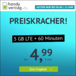 ⭐️ Mtl. kündbar: 5GB LTE + 60 Min. für mtl. 4,99€ / 7GB Allnet für 7,99€ ⏰ nur für kurze Zeit - handyvertrag.de im o2-Netz
