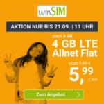 *NEU* 📲 Flexible 4GB LTE Allnet für 5,99€ mtl. ⏰ max. bis 21.09., 11 Uhr (winSIM, o2-Netz)