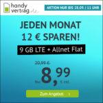 ⭐️ Mtl. kündbar: 9GB LTE Allnet für 8,99€ ⏰ max. bis zum 28.09., 11 Uhr - handyvertrag.de im o2-Netz