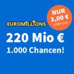 Rekord-Jackpot 🥳 220 Mio € bei EuroMillions: 1.000 Chancen für 3€ - Lottohelden Neukunden