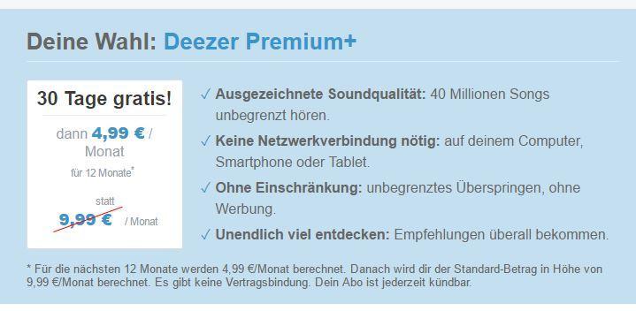 deezer premium 12 monate f r 4 99 im monat schn ppchen blog mit doktortitel dealdoktor. Black Bedroom Furniture Sets. Home Design Ideas
