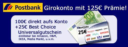 postbank 125b prämie postbank Kostenloses girokonto guthaben