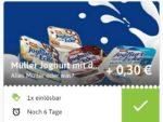 Müller Joghurt mit der Ecke gratis mit Reebate und Rewe
