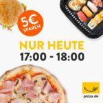 Nur heute 17:00-18:00 Uhr - 5€ Pizza.de Gutschein