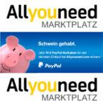 PayPal und Allyouneed.com schenken Ihnen 10 € auf Ihren nächsten Einkauf - und 8 % Rabatt mit Gutscheincode 8SPAREN