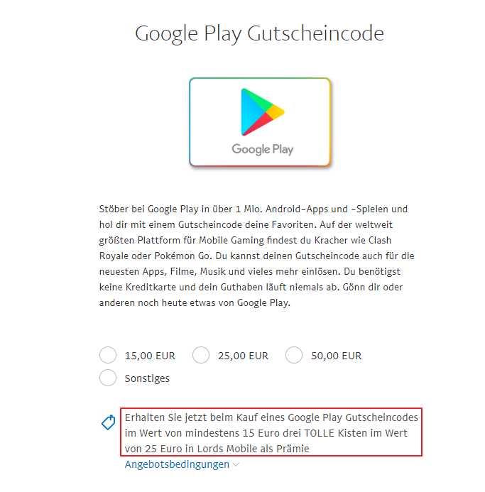 Android Gutscheincode