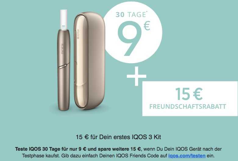 IQOS 30 Tage Testen Für 9€ + 15€ Rabatt