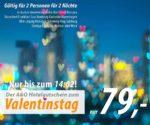 A&O Valentins-Hotelgutschein Preis: € 79.00 inkl. Frühstück für 2 Nächte und 2 Personen inkl. Venedig + Kopenhagen
